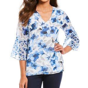 NWT Calvin Klein Floral Ruffled Bell-Sleeve Top M